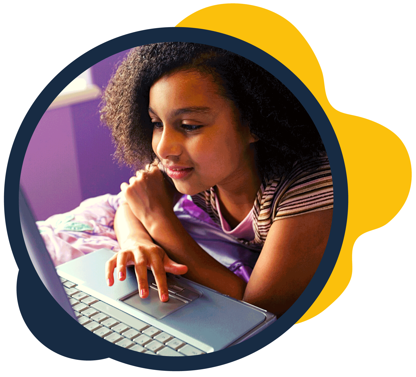 Picture of young girl using a laptop computer_safeguarding CAP certified
